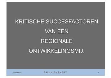 kritische succesfactoren van een regionale ontwikkelingsmij.