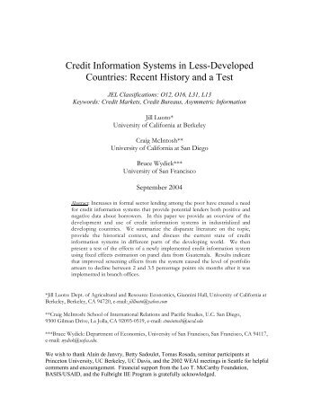 Credit Information Systems in Less-Developed Countries: Recent ...