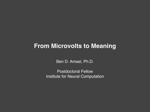From Microvolts To Meaning Inc