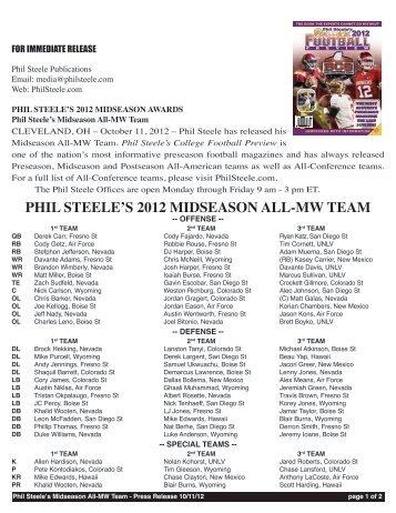 PHIL STEELE'S 2012 MIDSEASON ALL-MW TEAM