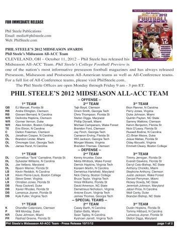 PHIL STEELE'S 2012 MIDSEASON ALL-ACC TEAM