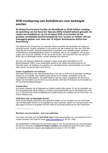 Persbericht NL SOS - IUCN