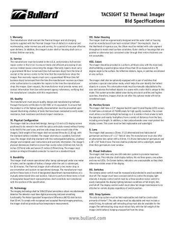 www.bullard.com TACSIGHT S2 Thermal Imager Bid Specifications