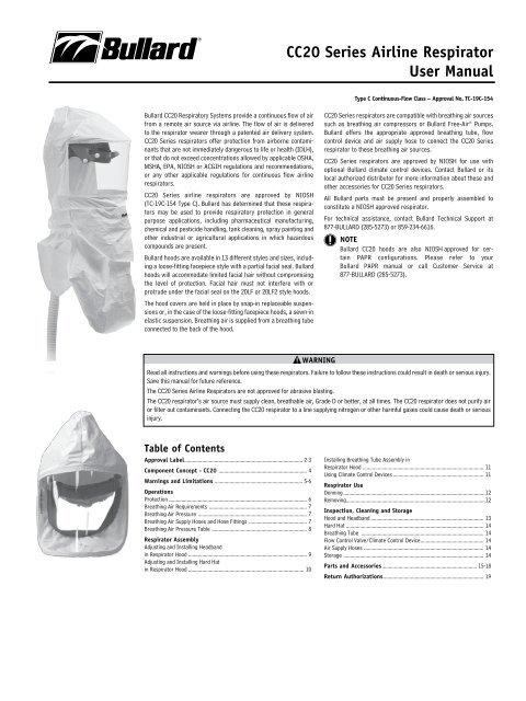 CC20 Series airline respirator User Manual - Bullard