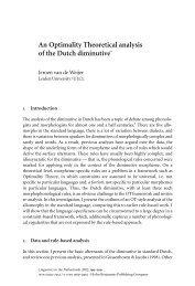 An Optimality Theoretical analysis of the Dutch ... - John Benjamins