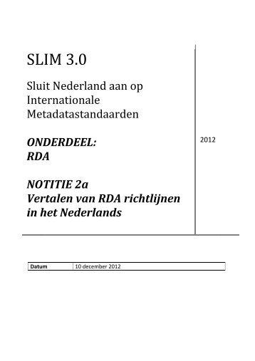 Vertalen van RDA richtlijnen in het Nederlands - OCLC