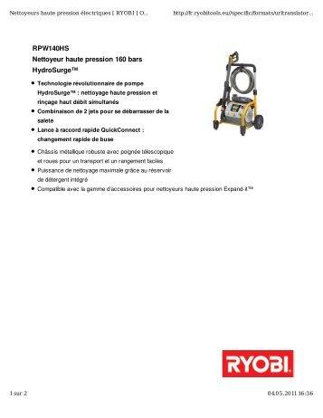 Ehp 1450 ryobi - Ryobi nettoyeur haute pression ...