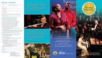FOM Brochure - George Mason University School of Music