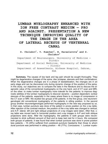 myelogram lumbar manual guide