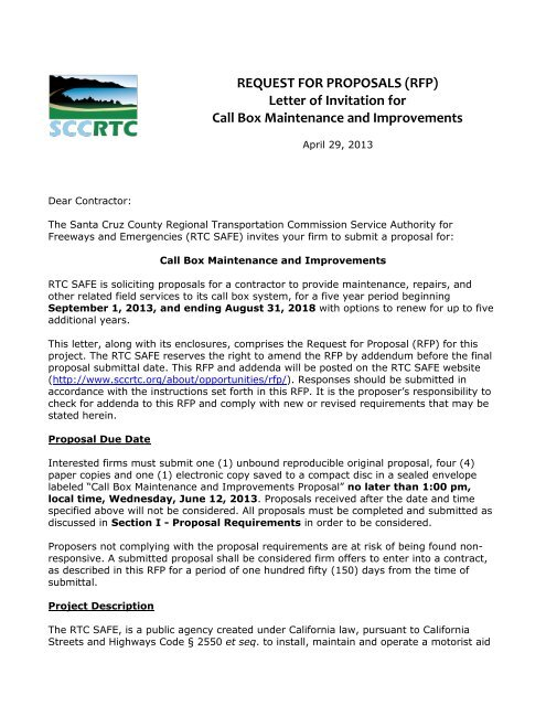 REQUEST FOR PROPOSALS (RFP) Letter of Invitation     - SCCRTC