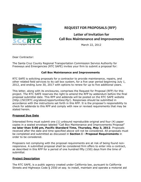 REQUEST FOR PROPOSALS (RFP) Letter of Invitation for Call Box