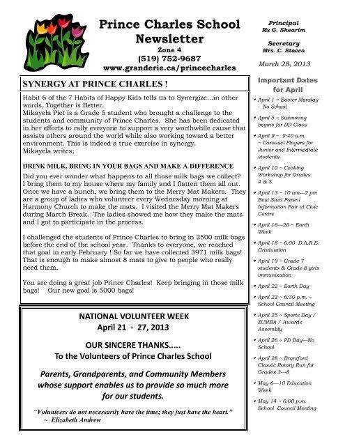 sélectionner pour l'original vente au royaume uni de gros April 2013 - Grand Erie District School Board
