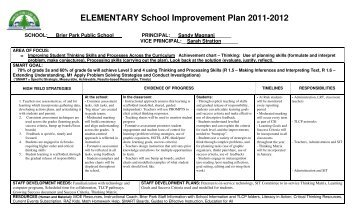 ELEMENTARY School Improvement Plan 2011-2012 - Grand Erie ...