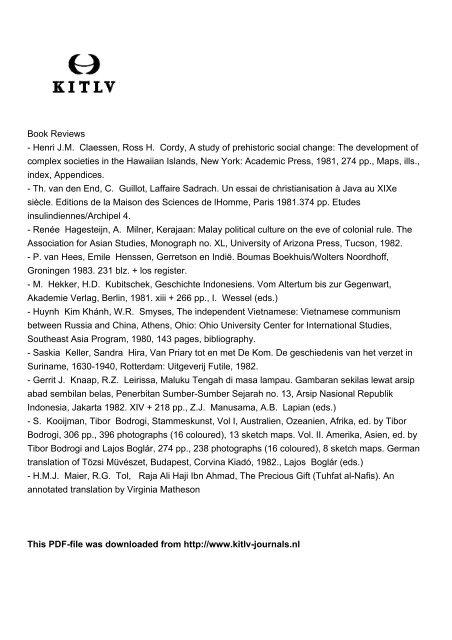 Henri JM Claessen, Ross H. Cordy, A study of prehistoric social ...