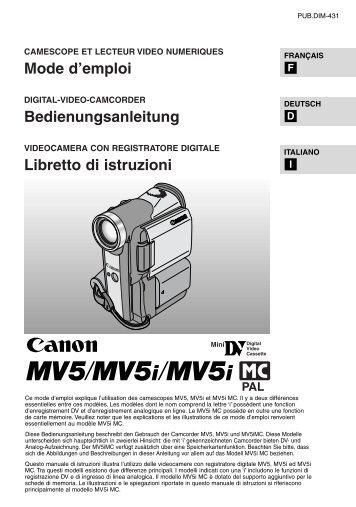 Mode d'emploi Bedienungsanleitung Libretto di istruzioni - Canon