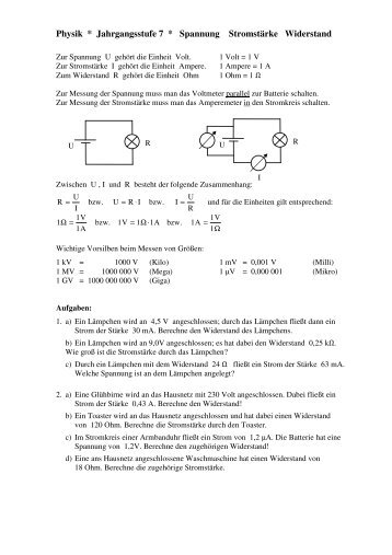 Physik * Jahrgangsstufe 7 * Spannung Stromstärke Widerstand