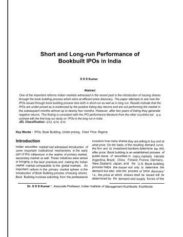 Short and Long-run Performance of Bookbuilt IPOs in India