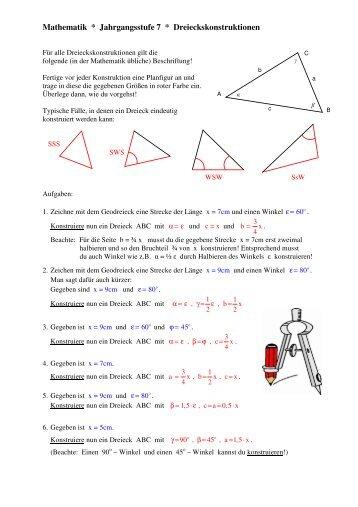 Dreieckskonstruktionen zu den Kongruenzsätzen