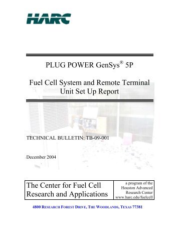 PLUG POWER GenSys 5P Fuel Cell System and Remote Terminal ...