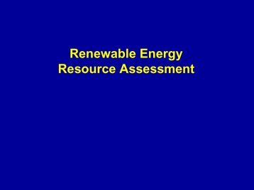 Renewable Energy Resource Assessment