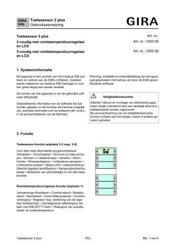 Toetssensor 2 plus Gebruiksaanwijzing - Download - Gira