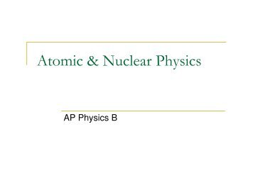 Atomic & Nuclear Physics