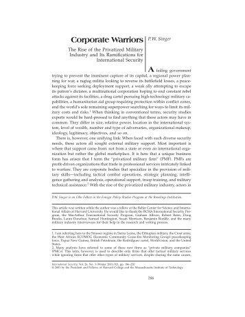 Corporate Warriors P.W. Singer - MIT Press Journals