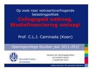 Collegegeld omhoog, Studiefinanciering omlaag! - Universiteit Leiden
