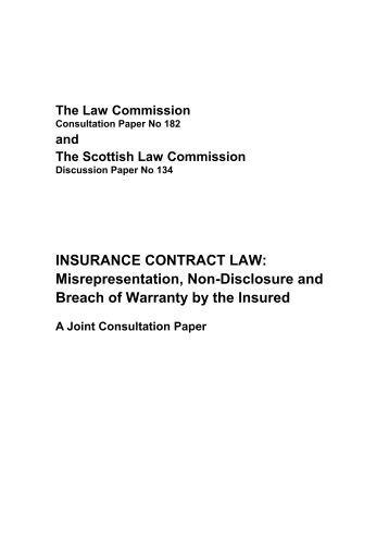 Misrepresentation, Non-Disclosure and Breach ... - Law Commission