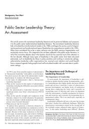Public-Sector Leadership Theory: An Assessment - Syracuse ...