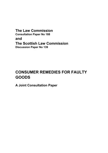 Consumer Remes For Faulty Goods Law Commission