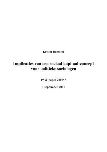 Implicaties van een sociaal kapitaal-concept voor politieke sociologen