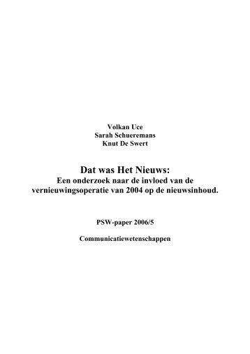 PSWpaper 2006-05 volkan uce.pdf - Universiteit Antwerpen