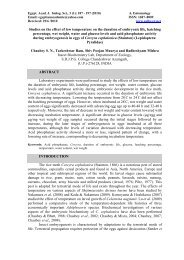 Studies on the effect of low temperature on the duration of ...