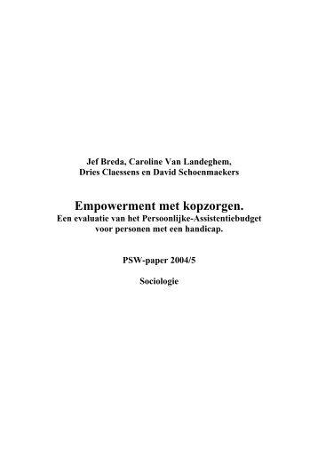 PSWpaper 2004-05 schoenmaekers.pdf - Universiteit Antwerpen