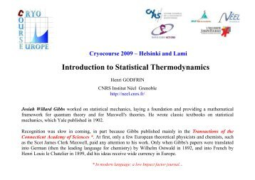 Introduction to Statistical Thermodynamics - Low Temperature ...