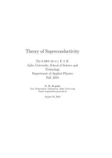 Theory of Superconductivity - Low Temperature Laboratory