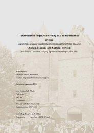 Veranderende Vrijetijdsbesteding en Cultuurhistorisch erfgoed ...