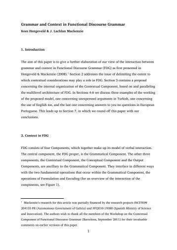 Grammar and Context in Functional Discourse Grammar