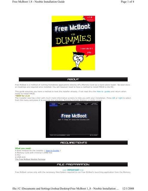 Install FMCB 1 8 (Noobie) (English) PDF - PSX Scene