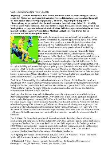 Quelle: Aichacher Zeitung vom 04.10.2010 ... - FC Pipinsried
