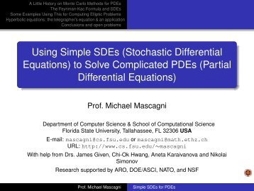 Using Simple SDEs (Stochastic Differential Equations) to Solve ...