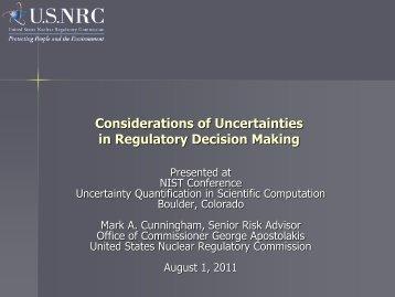 Considerations of Uncertainties in Regulatory Decision Making