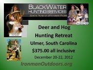 Deer and Hog Hunting Retreat IronmanOutdoors.org - Stablerack