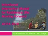 Intentional Interaction Model for Residence Life.Moving Forward ...