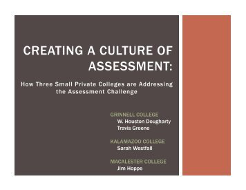 Creating a Culture of Assessment at Three Small Colleges (ACPA)