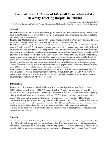 Pneumothorax - Journal of Pakistan Medical Association