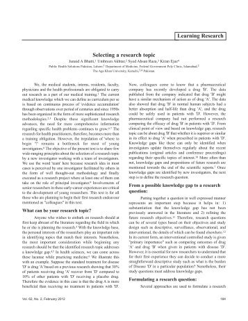 Selecting a research topic Learning Research - Journal of Pakistan ...