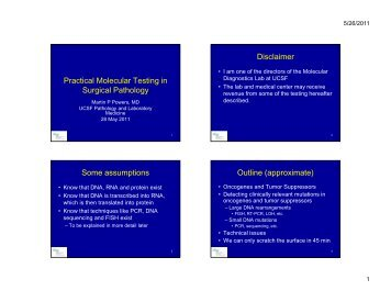 Relevance of Molecular Testing in Practical Surgical Pathology