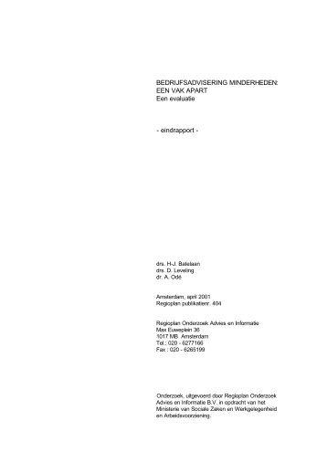 BEDRIJFSADVISERING MINDERHEDEN: EEN VAK ... - docs.szw.nl